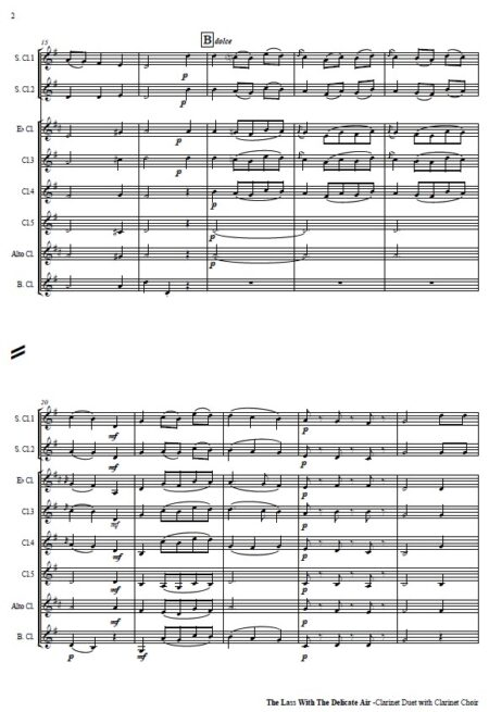509 The Lass with the Delicate Air Clarinet Duet and Clarinet Choir SAMPLE page 002