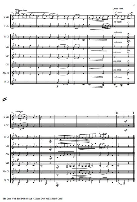 509 The Lass with the Delicate Air Clarinet Duet and Clarinet Choir SAMPLE page 003