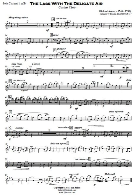 509 The Lass with the Delicate Air Clarinet Duet and Clarinet Choir SAMPLE page 004