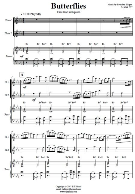 168 Butterflies Flute Duet and Piano SAMPLE page 001