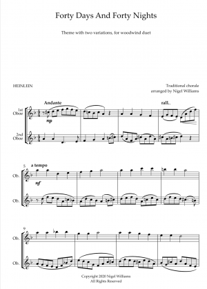 Forty Days and Forty Nights, for Oboe Duet