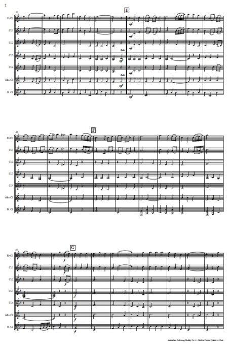 510 Australian Folksong Medley No 6 Flexible Clarinet Quintet or Choir SAMPLE page 002