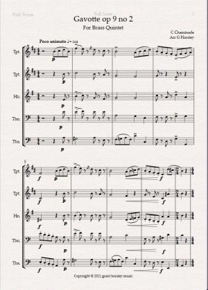 """""""Gavotte"""" op 9 no 2- C. Chaminade for Brass Quintet- Intermediate"""