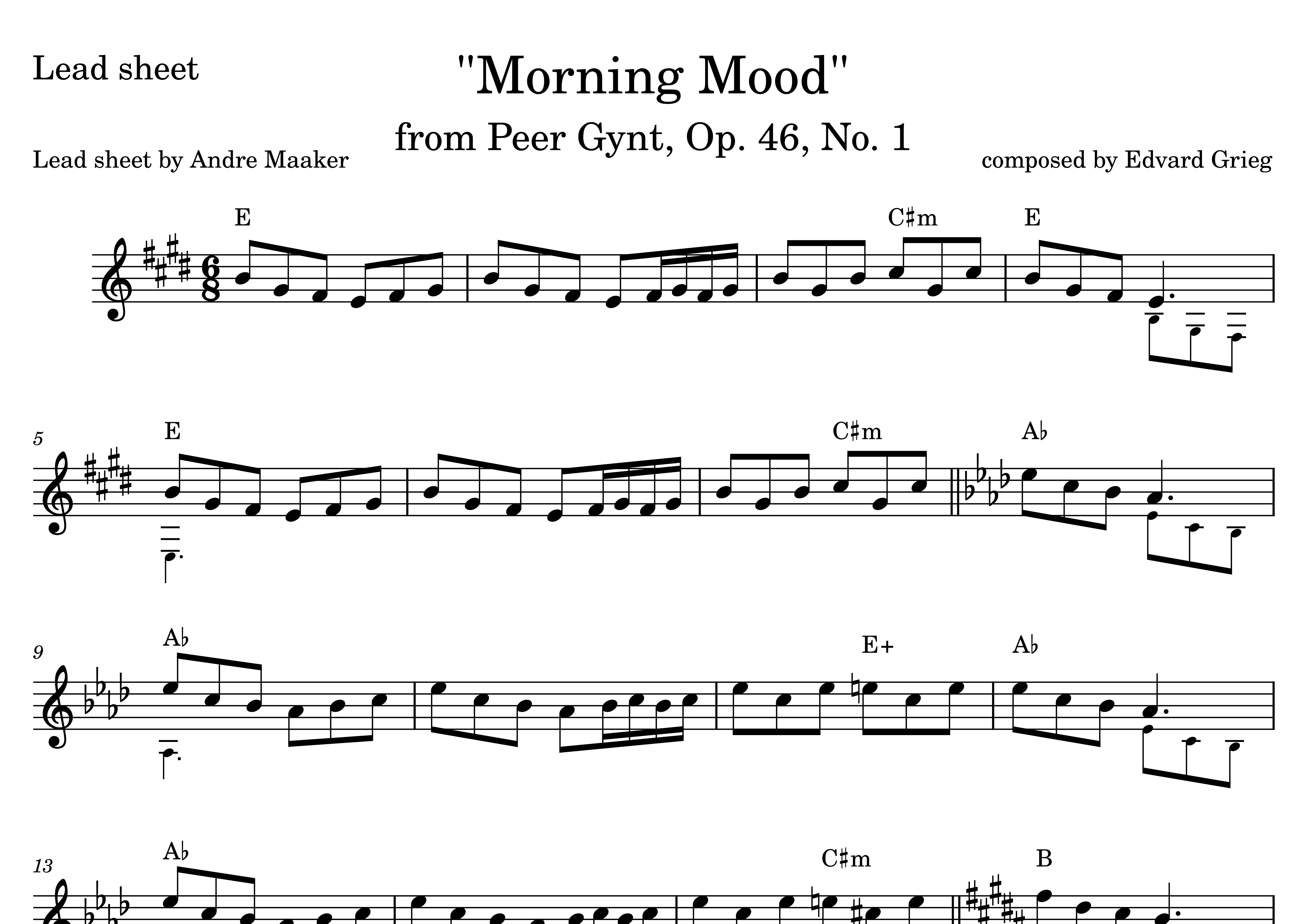 Morning Mood From Peer Gynt Suite No 1 Op 46 Lead Sheet Sheet Music Marketplace