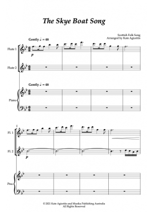 The Skye Boat Song – Flute Duet with Piano Accompaniment