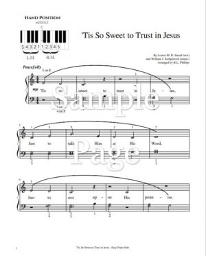 'Tis So Sweet to Trust in Jesus – Easy Piano Solo