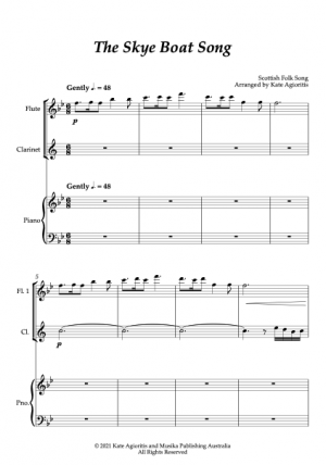 The Skye Boat Song – Flute and Clarinet (or Oboe) Duet with Piano Accompaniment