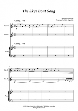 The Skye Boat Song – Horn Duet with Piano Accompaniment