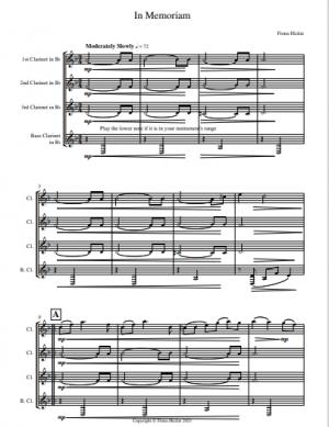 In Memoriam for Clarinet Quartet