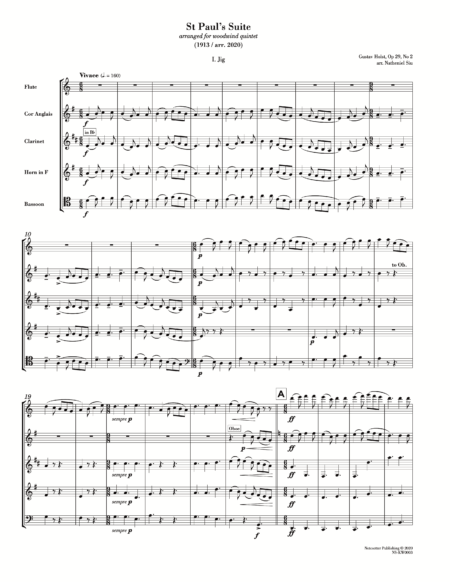First page of the sheet music for Holst St Paul's Suite arranged for wind quintet