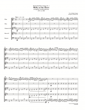 Grainger: Molly On The Shore (arr. for wind quintet) [score with parts]