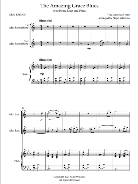 The Amazing Grace Blues, for Alto Saxophone Duet and Piano