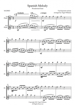 Spanish Melody, for Flute Duet