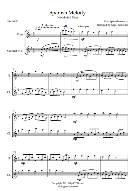 Spanish Melody, for Flute and Clarinet Duet