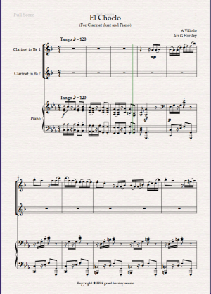 """""""El Choclo"""" A Tango for Clarinet Duet and Piano- Early Intermediate"""