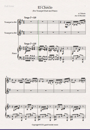 """""""El Choclo"""" A Tango for Trumpet Duet and Piano-Intermediate"""