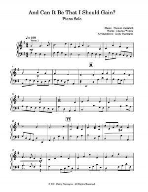 And Can It Be That I Should Gain? (Piano Solo-Intermediate-Upper Intermediate)