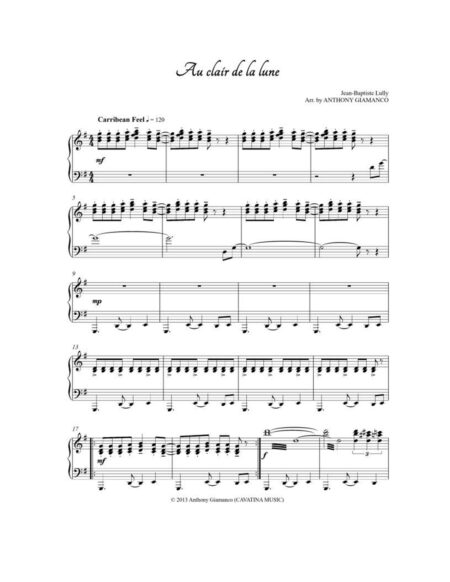 AU CLAIR DE LA LUNE piano