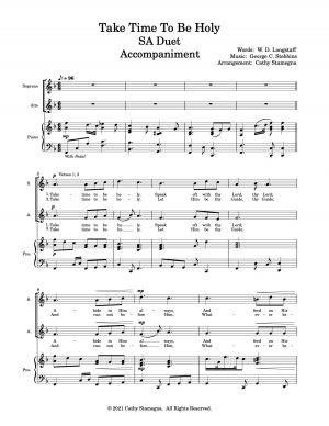 Take Time To Be Holy (Vocal Duet, Keyboard Accompaniment) SA, TB, ST Duets