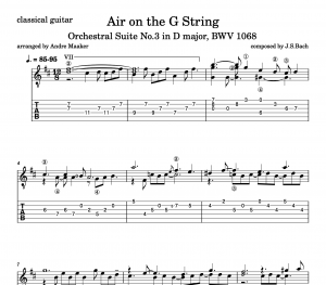 """Air on the G String"" by J.S.Bach – classical guitar arrangement"