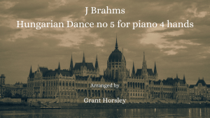 Brahms -Hungarian Dance No 5 – Piano 4 hands Intermediate