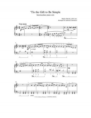 TIS THE GIFT TO BE SIMPLE – piano solo