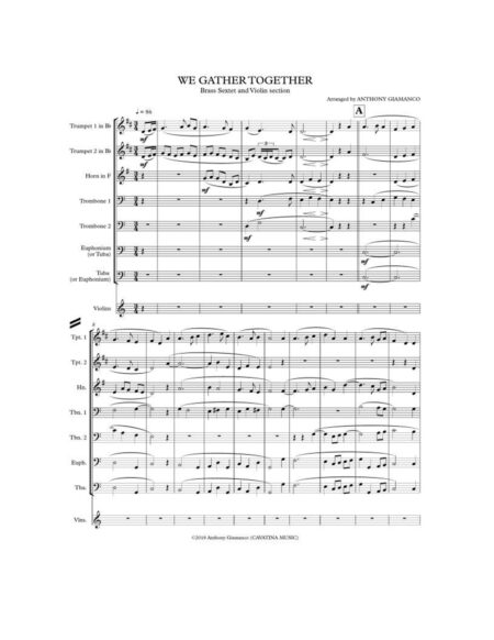WE GATHER TOGETHER brass sextet violin page1