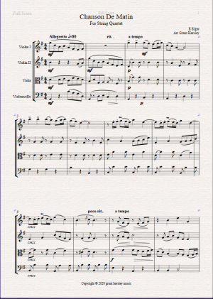 Chanson De Matin for String Quartet