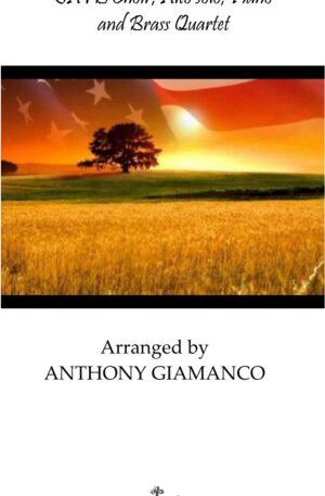 AMERICA, THE BEAUTIFUL – SATB, alto solo, brass quartet, piano (full score)