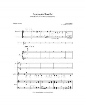 AMERICA, THE BEAUTIFUL – full score, brass quartet parts, alto solo part, choir edition