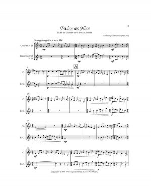 TWICE AS NICE – clarinet/bass clarinet duet