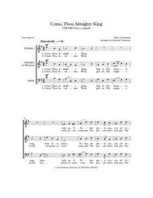 COME, THOU ALMIGHTY KING – TTB/TBB, a cappella