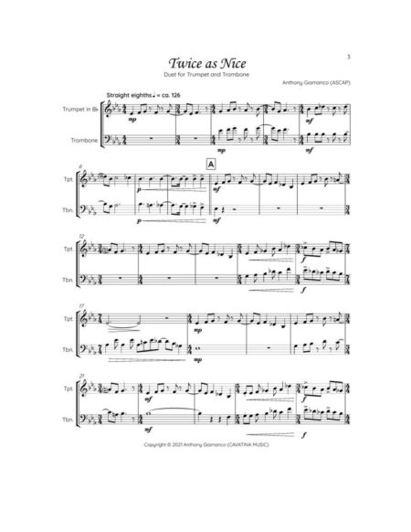 TWICE AS NICE trumpet trombone page1