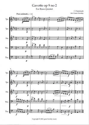 """Gavotte"" op 9 no 2- C. Chaminade for Brass Quintet"