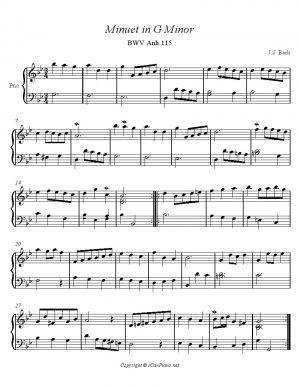 Bach Minuet BWV Anh. 115 Notebook of Anna Magdalena Bach