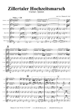 Zillertaler Hochzeitsmarsch – October Fest – Clarinet Quintet
