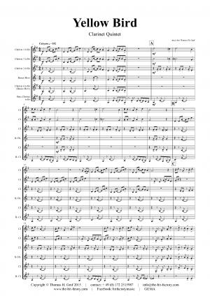 Yellow Bird – Haitian Folk Song – Calypso – Clarinet Quintet