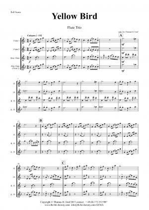 Yellow Bird – Haitian Folk Song – Calypso – Flute Trio