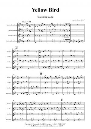 Yellow Bird – Haitian Folk Song – Calypso – Saxophone Quartet