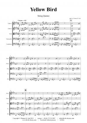 Yellow Bird – Haitian Folk Song – Calypso – String Quintet