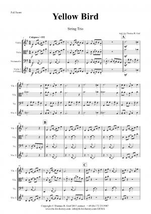Yellow Bird – Haitian Folk Song – Calypso – String Trio
