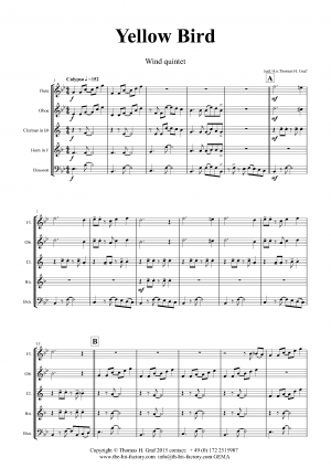 Yellow Bird – Haitian Folk Song – Calypso – Wind Quintet