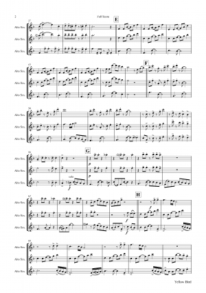 Yellow Bird – Haitian Folk Song – Calypso – Alto Saxophone Trio
