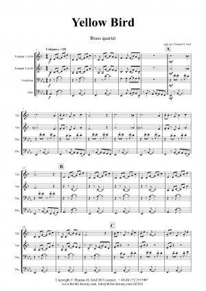 Yellow Bird – Haitian Folk Song – Calypso – Brass Quartet