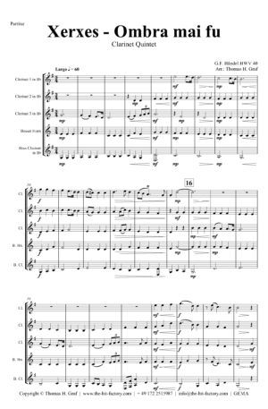 Xerxes Largo – Ombra mai fu – Clarinet Quintet