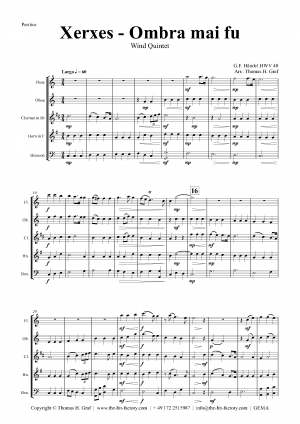 Xerxes Largo – Ombra mai fu – Wind Quintet