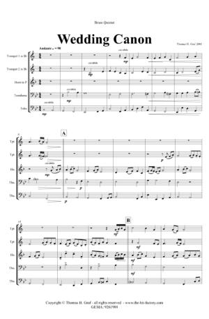 Wedding Canon – Festive Concert Piece – Brass Quintet