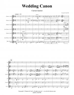 Wedding Canon – Festive Concert Piece – Clarinet Quintet