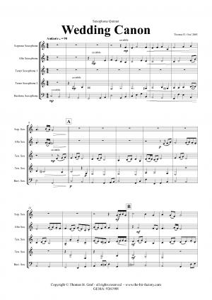 Wedding Canon – Festive Concert Piece – Saxophone Quintet
