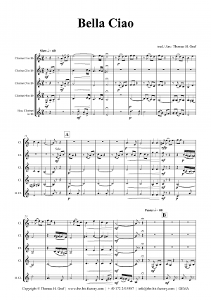 Bella Ciao – Italian Classic – Clarinet Quintet
